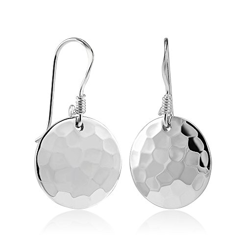925 Sterling Silver Hammered Round Disc Dangle Earring