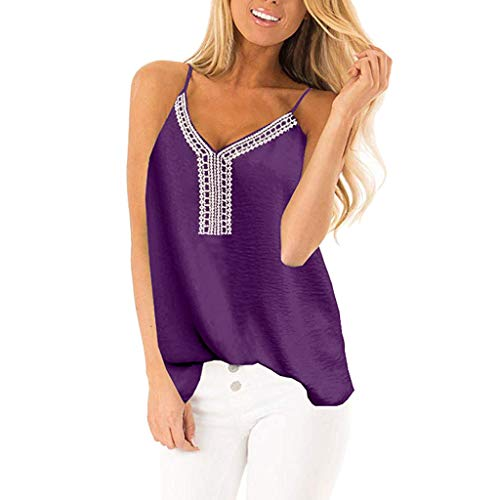 (Women's Summer Casual Embroidered Tank Tops, Loose V-Neck Sleeveless Backless Sling Blouse T-Shirt by JMETRIE Purple)