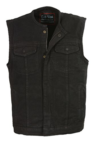 (Club Vest-Men's Collarless Denim Club Vest w/ Hidden Zipper (Black, MD), 1)