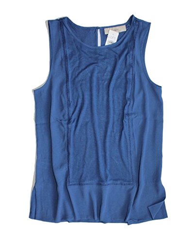 Ann Taylor Loft Womens   Solid Colors   Mixed Media Ladder Lace Shell Tank Top  Xx Small  Royal Blue