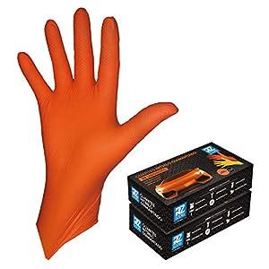 GUANTES de NITRILO DIAMANTADO naranjas - Los guantes de nitrilo MÁS RESISTENTES del mercado - SIN LÁTEX - REUTILIZABLES 4