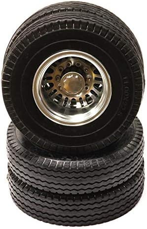 Integy RC Model Hop-ups C24349SILVER Billet Alloy Type III Rear Dually Wheel & Tire(2) for Tamiya 1/14 Tractor Trucks