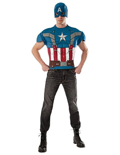 [Rubie's Costume Men's Marvel Universe Captain America The Winter Soldier Top, Multicolor, One Size] (Marvel Heroes Costumes For Adults)
