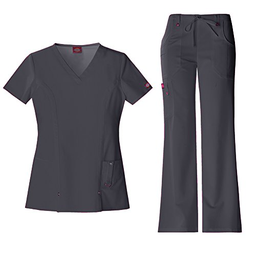 - Dickies Xtreme Stretch Women's V-Neck Scrub Top 82851 & The Extreme Stretch Drawstring Scrub Pants 82011 Medical Scrub Set (Pewter - Large/Medium Tall)