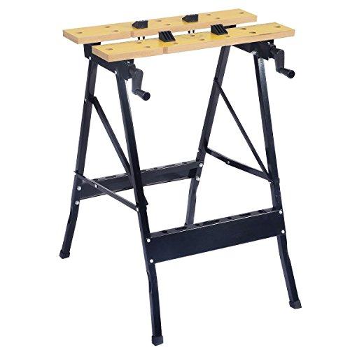 Goplus Folding Work Bench Steel Table Garage Tool Portable Workbench