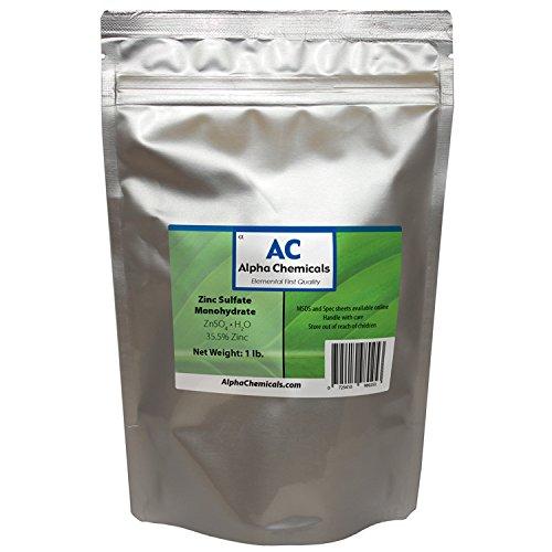 Zinc Sulfate Monohydrate  355% Zn  99% Pure  1 Pound