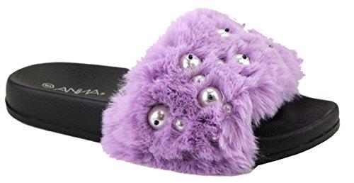 ANNA Polly-12 Women Flip Flop Faux Fur Pearl Slide Slip On Flat Sandal Shoe Slipper Purple Purple hptfn561