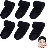 6PCS Spa Facial Headband Make Up Wrap Head Terry Cloth Headband Stretch Towel with Magic Tape for Makeup Bath and Sport, Black