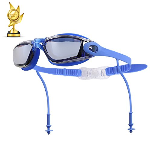ZFLQ Swimming Goggles, Swim Goggles No Leaking Anti Fog UV Protection Triathlon Swim Goggles with Siamese Ear Plugs for Adult Men Women Youth Kids Child (Blue) (Crystal Blue Fade Frame)