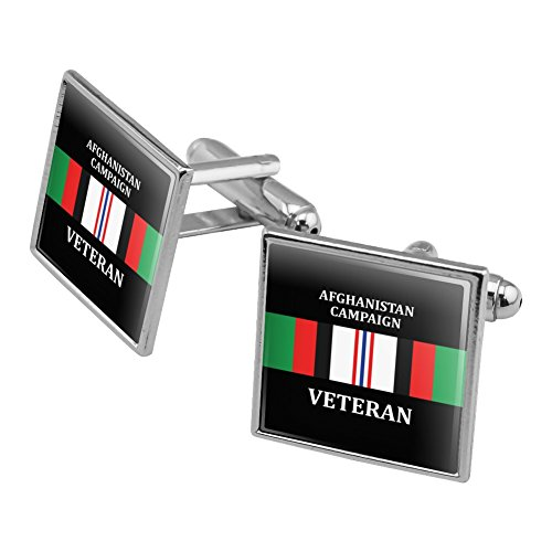 Marine Corps USMC Afghanistan Campaign Veteran Ribbon Officially Licensed Square Cufflink Set Silver - Silver Campaign Ribbon