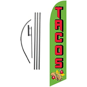 MEXICAN FOOD OPEN Banner Vertical Sign for Restaurant or Food Truck Taco Stand