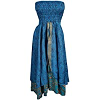 Mogul Womens 2 In 1 Strapless Dress Maxi Skirts Boho Recycled Printed Vintage Sari Two Layer