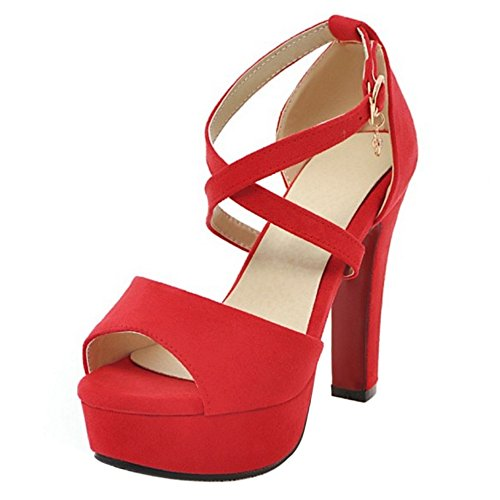 TAOFFEN con Sandali Tacco Donna Red Moda Cinturino TtqxTwr7I