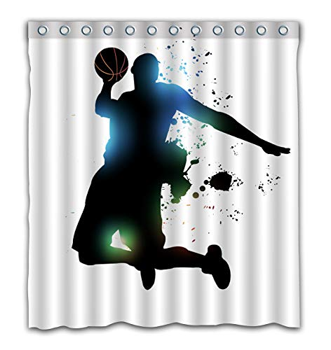 Gdcover Cool Slam Dunk Design Waterproof Shower Curtain Fabric for Home Bathroom Decor 66x72 Inches