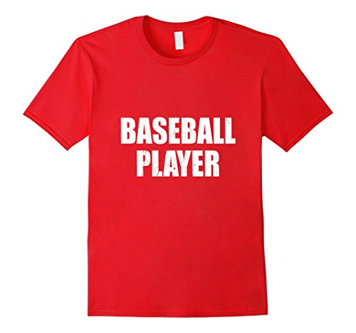 Mens Baseball Player Halloween Costume Party Cute & Funny T shirt Large Red