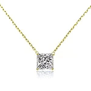 14K Yellow, Rose or White Gold Chain Necklace 0.20 carat Princess Diamond Solitare Pendant Necklace