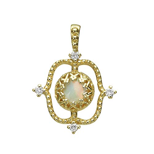 (Natural Opal Pendant 14K Gold with Diamonds (Yellow-Gold))