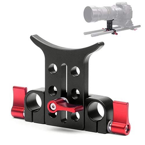 Lens Support Rods - Universal 15mm Rod Lens Support Bracket Mount Plate on Matte Box DSLR Camera Telephoto Rail Long Telescope Lens on 15mm Rail Rod Support System Video Cage Rig, Red