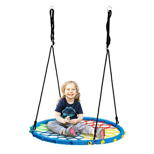 wonline 40'' Spider Web Tree Swing, 330lb Weight Capacity, Indoor/Outdoor Net Swing for Kids