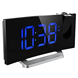 Mpow Projection Clock, FM Radio Alarm Clock, Curved-Screen Digital Alarm Clock, 5'' LED Display with Dimmer, Dual Alarm with USB Charging Port, 12/24 Hours, Backup Battery in Case of Power Failure