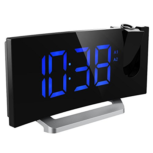 Mpow 5-inch FM Projection Clock with Dual Alarms, Digital Radio Alarm Clock, 120° Adjustable Projection Head, Dual Alarm, Snooze, 12/24 hours modes, 33-inch antenna, USB Charging Port, Battery Backup