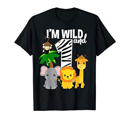 I'm Wild and 1 Zoo Theme Birthday Shirt Safari Jungle -