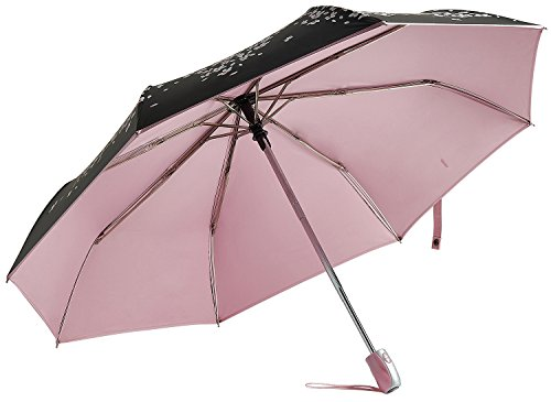 RENZER Travel Umbrella Compact Rain Umbrella Windproof for Women Automatic Open/close Durability Cherry Sunny Umbrellas Pink