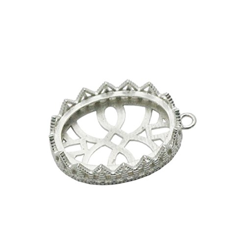 - beadsnice 925 Sterling Silver Cups Lace Edge Pendant Trays Bezel Settings Sold by PC