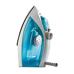 Home & co Full Size Clothing Steam Iron - Self Cleaning with Non-Stick Sole Plate - Blue and White 1200w - 240-240v