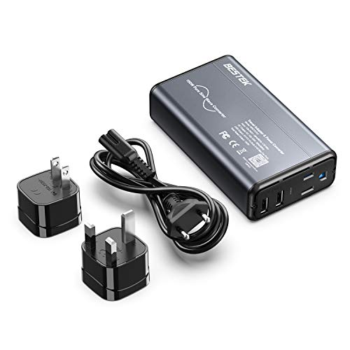 [Pure Sine Wave] BESTEK Universal Travel Adapter Voltage Converter for Hair Straightener/Curler, Step Down 100-240V to 110V Power Converter with Fast USB for UK/France/Italy/AU/Asia etc (Grey-Black)