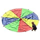 HAPPYMATY Outdoor Rainbow Umbrella Parachute Kids' Gymnastics Gear Kindergarten Sports Development Toys 3M/10FT