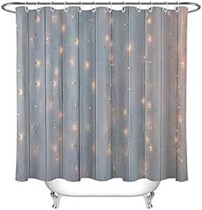 DJSK Cortina de baño LB Luces de Navidad ardiendo en una Granja de Madera Cortina de Ducha de Granero y Juego de alfombras Tela de baño Impermeable para decoración de bañera 180 *