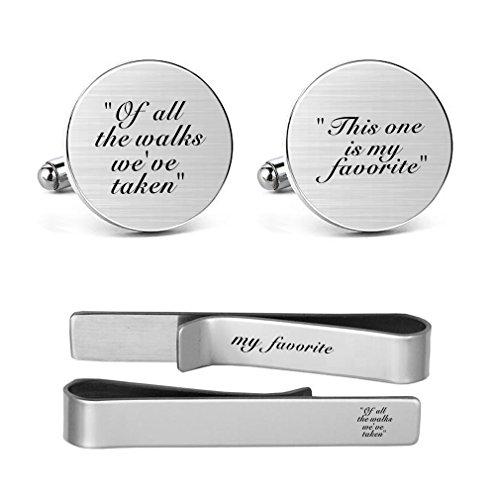 MUEEU Father Wedding Cufflinks Engraved of all the Walks We Have Take Round Cuff link Tie Clip (1 Dad Cufflinks)