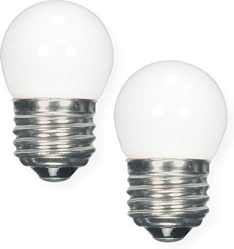 Satco S9161 Miniature LED Light Bulb, White Finish, Pack of 2, 1.2 Watts, 120 Volts, 40 Initial Lumens, S11 Lamp Shape, Medium Base, E26 ANSI Base, 2-5/16'' MOL, 1-3/8'' MOD, 25000 Average Rated Hours