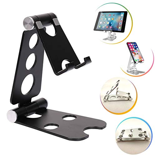 Tablet Stand or Cell Phone Stand. Foldable, Portable and Adjustable. Made of Aluminum. Compatible with 12-inch Devices or Nintendo Switch (Black)
