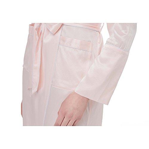 Lilysilk Bata De Seda Larga Para Mujer Con Cuello De Chal Hecho De 100% Seda Natural De 22 Momme Rosa Claro