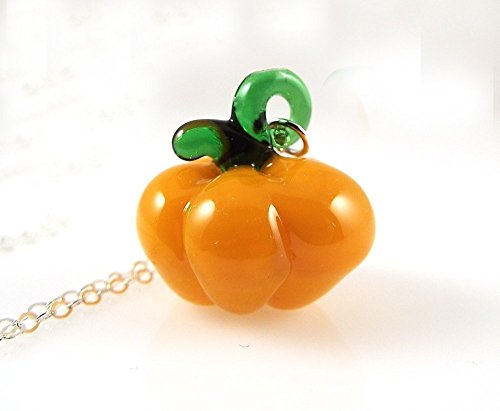 Accessorize Halloween Costume (Pumpkin Glass Pendant Necklace Sterling Silver Chain Fall Halloween Jewelry)