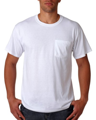 Jerzees Adult Heavyweight Ribbed Crewneck Pocket T-Shirt, White, XL (Pack of 10)