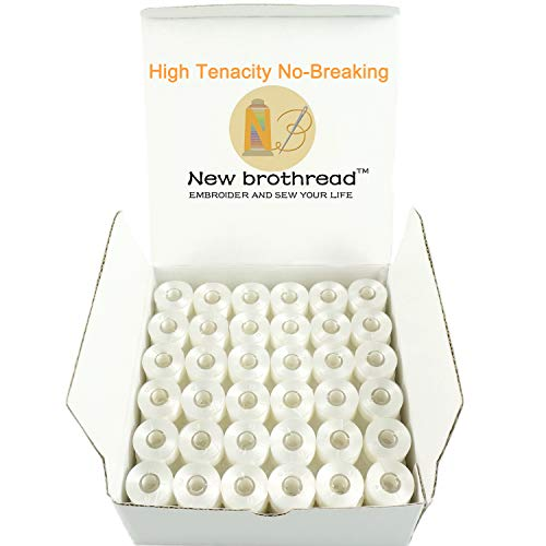 New Brothread 144pcs White 70D/2(60WT) Prewound Bobbin Thread Plastic Size A SA156 for Embroidery and Sewing Machine Polyester Thread Sewing Thread