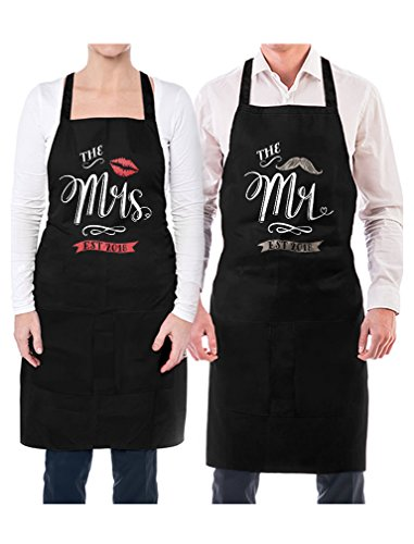 Mr & Mrs Est 2018 Couples Gift Wedding, Anniversary, Newlywed His & Hers Aprons Mr. Black OS / Mrs. Black OS