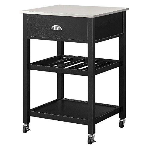 Threshold Stainless Steel top Kitchen Cart - Black 15716285