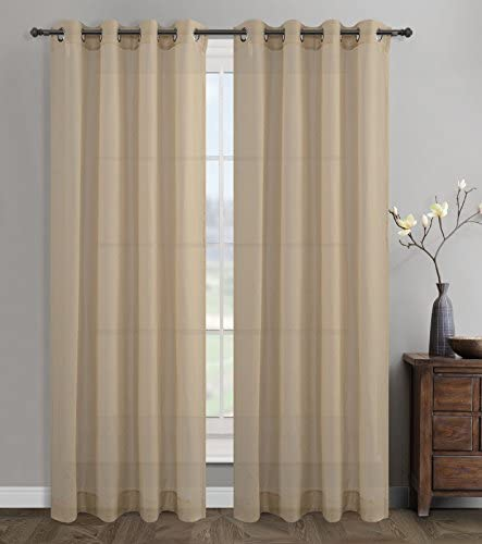 Urbanest 54-inch by 84-inch Sahara Set of 2 Linen Sheer Curtain Drapery Panels with Grommets, Stone