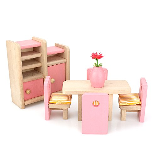 Miniature Wooden Furniture (LIKIQ Dollhouse Furniture Set Wooden Toy for Kids-Dining Room with Accessories)