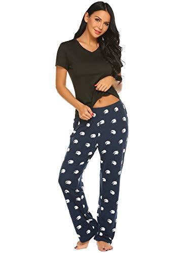 Ekouaer Womens Pajamas Short Sleeve Sleepwear Scoop Neck Nightwear Stripe Printed Two Piece PJs Set ,Black,Small]()