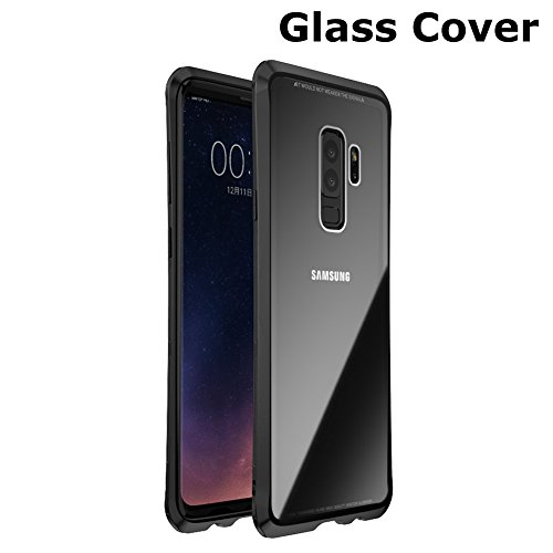 Transparent Metal - Samsung Galaxy S9 Plus Clear Case, iZi Way Metal Frame + Tempered Glass Back Cover with Corner Bumper Cushion Hybrid Rugged Transparent Cover for Samsung Galaxy S9 Plus 2018 Release - Black
