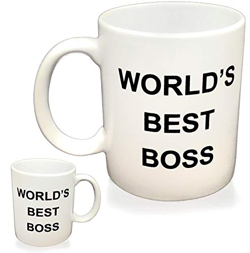 WORLD'S BEST BOSS Coffee Mug, Double Sided Imprint, 11 OZ Ceramic Mug For The Office (The Boss And The Real Boss Mugs)