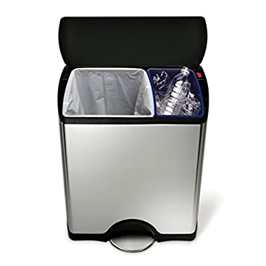 simplehuman Rectangular Step Trash Can Recycler, Stainless Steel, Plastic Lid, 46 L / 12 Gal