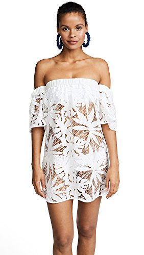 Milly Women's Tropical Embroidery Netting Flutter Sleeve Coverup, White, Small by MILLY