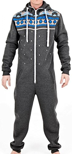 SkylineWears Men's Fashion Onesie Hooded Jumpsuit One Piece non Footed Pajamas Hevan Charcoal X-Large