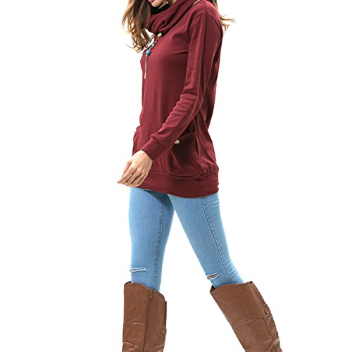 levaca Womens Long Sleeve Button Cowl Neck Casual Slim Tunic Tops with Pockets